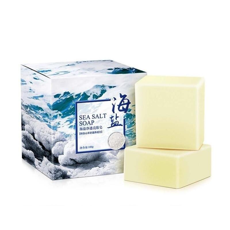 100g Sea Salt Soap Cleaner Removal Pimple Pores Acne Treatment Goat Milk Moisturizing Face Back Wash Soap Skin Care Savon Au Hot