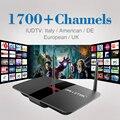 TV Box RK3128 Quad Core H.265 Android 2.4 Ghz WiFi com Frete HD 4 K 1700 IUDTV Turco IPTV Canais de IPTV Europa Itália Francês caixa