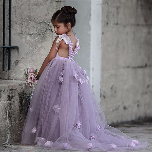 Puffy New Lavender Flower Girl Dress Princess Girls Pageant Gowns Flower Square Royal Train for Weddings First Communion DressPuffy New Lavender Flower Girl Dress Princess Girls Pageant Gowns Flower Square Royal Train for Weddings First Communion Dress