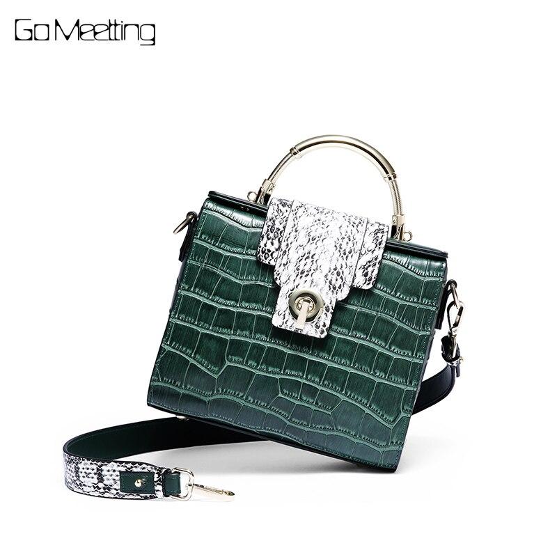Go Meetting Lock Alligator Luxury Small Handbags Women Bag Designer Shoulder Messenger bags for women 2018 Famous Brand handbag