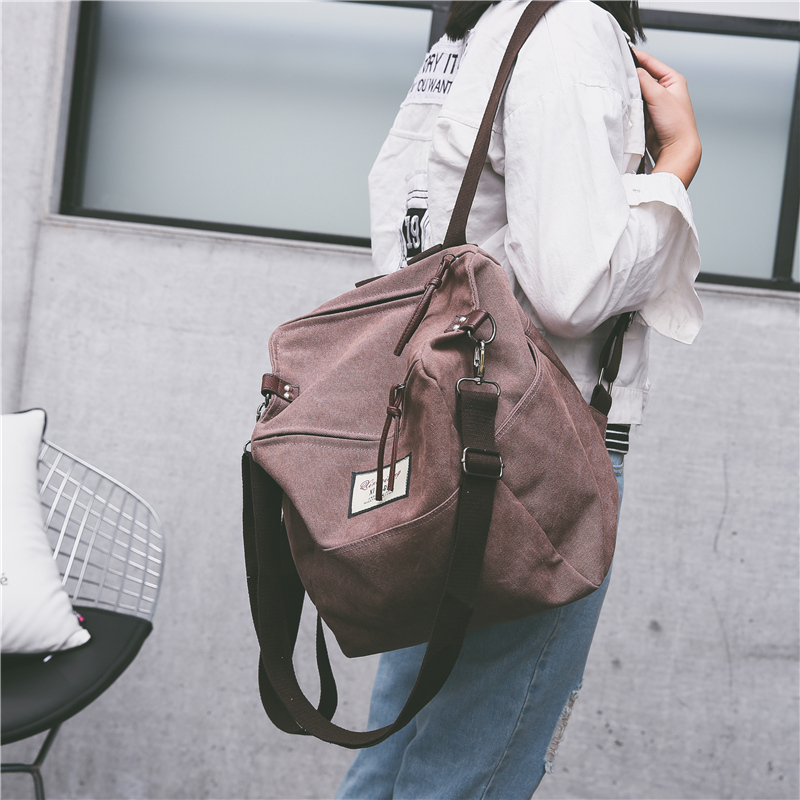 Korean Style Fashionable Female Canvas Backpack Harajuku Style Large Capacity Casual Backpack For Travel College Style Schoolbag