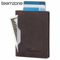 Teemzone Genuine Leather Men Card Holders Business Man Credit Card Case Slim Cash Pack Mens Wallet Minimalist Card Holder K390