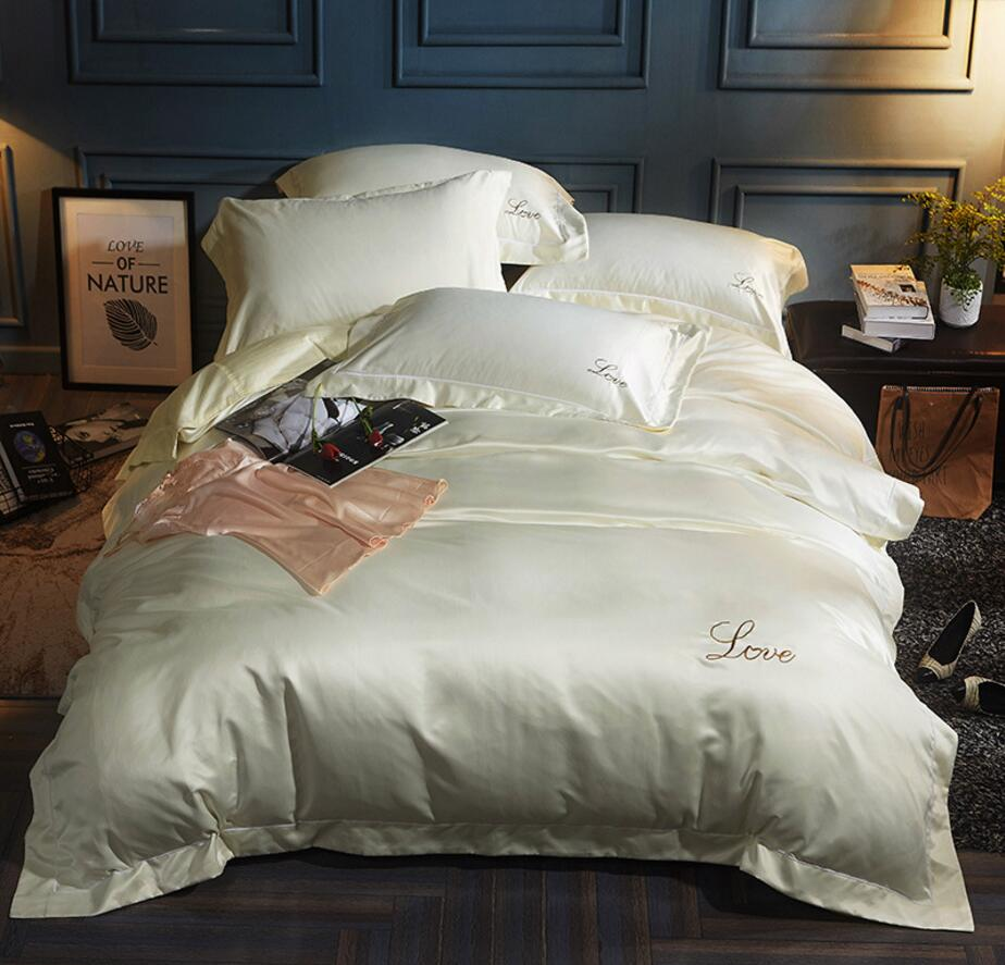 Embroidered Duvet Cover Set King Queen Size 4Pcs Solid Color Bedding set Home Decoration Bedclothes Bed Sheet Pillowcase CottonEmbroidered Duvet Cover Set King Queen Size 4Pcs Solid Color Bedding set Home Decoration Bedclothes Bed Sheet Pillowcase Cotton