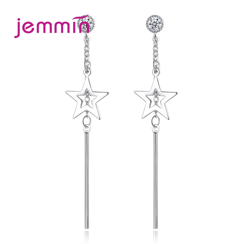 New Arrival S90 Dangle Earrings Trendy  Star Design Sparkling Cubic Zirconia Best Gift For Women Girls Party Appointment