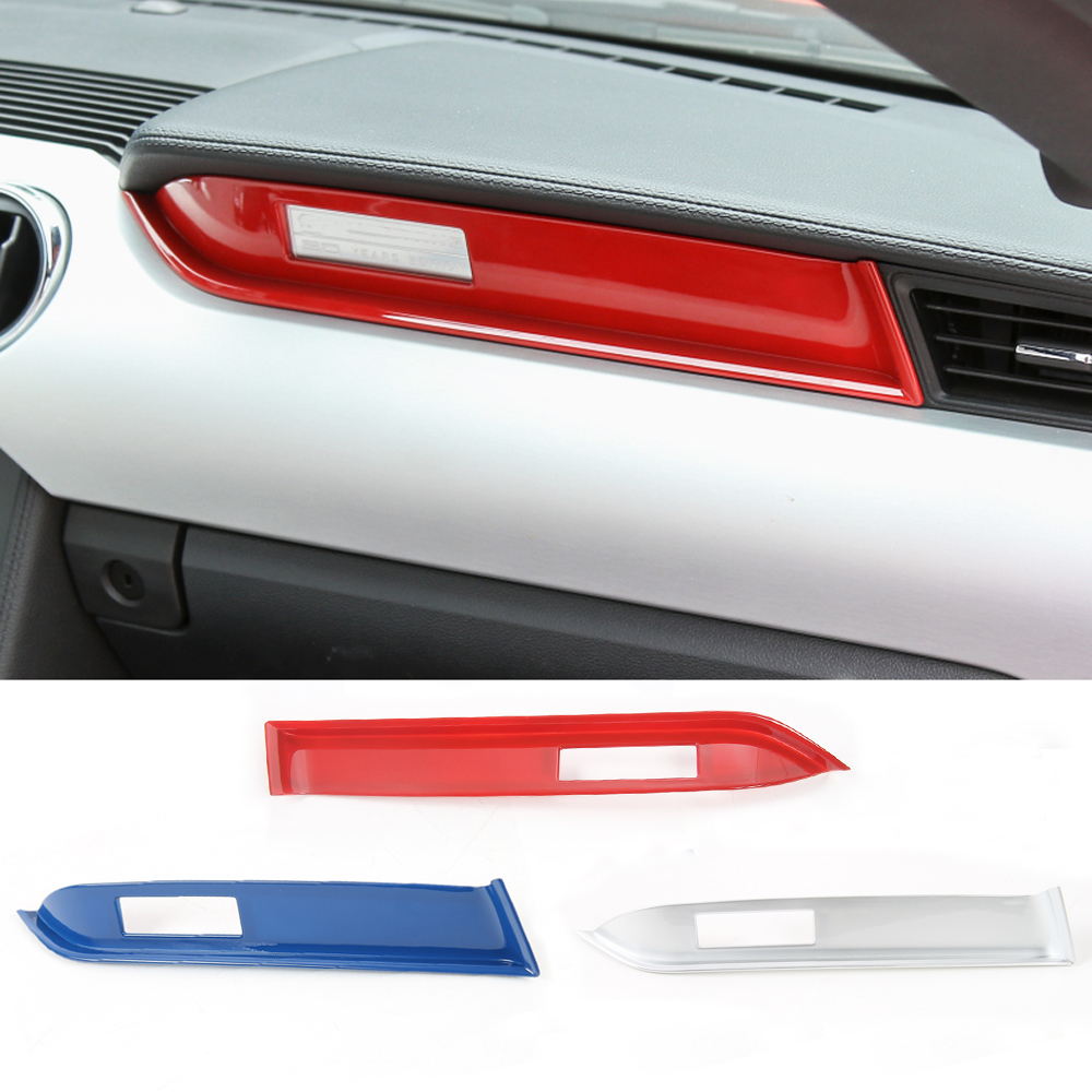 Red/ Blue/ Silver ABS Dashboard Copilot Cover Trim Sticker Decor Frame For Ford Mustang 2015 2016 Car Interior Moulding Styling