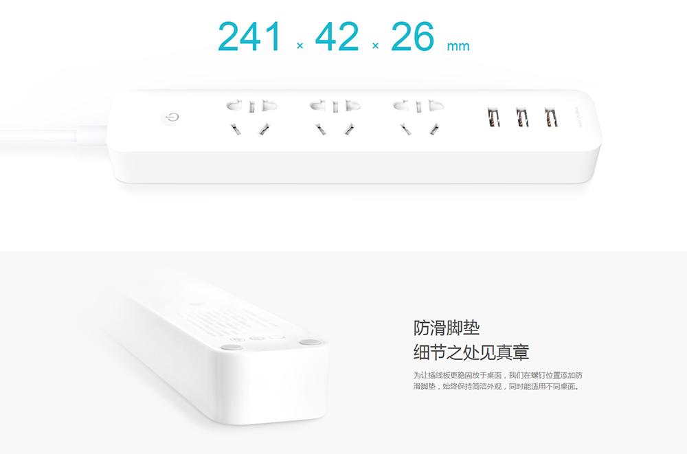 Original Xiaomi Smart Power Socket Strip Plug Adapter with 3 USB Port Smart APP Control (9)