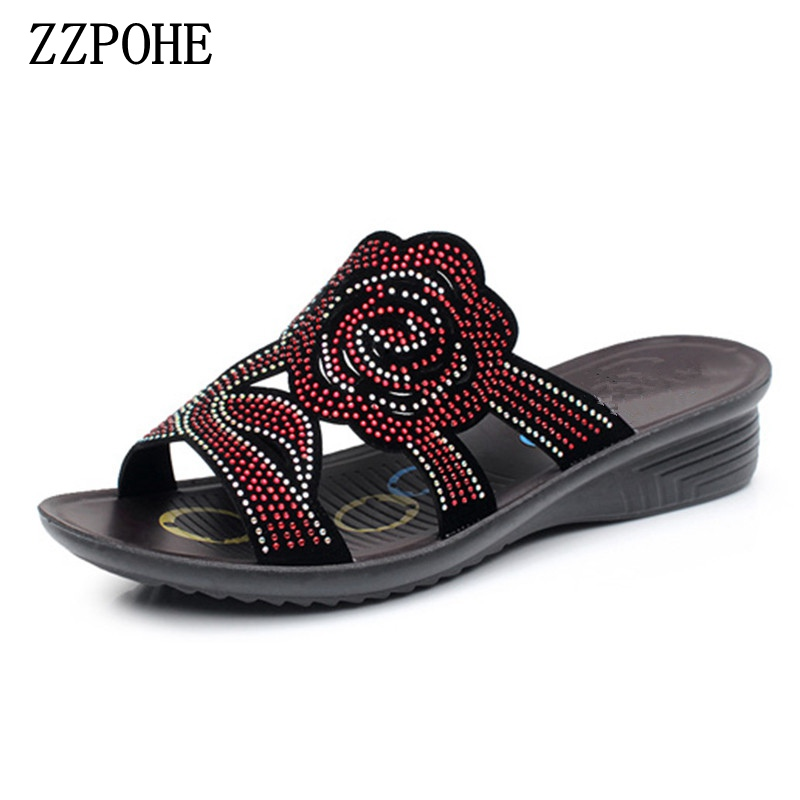 ZZPOHE summer crystal fashion woman slippers female casual slope thick bottom slip mother slippers ladies soft bottom slippers 2018 summer ladies thick bottom drag slope beach shoes for women casual non slip flat bottomed slippers female slides shoes