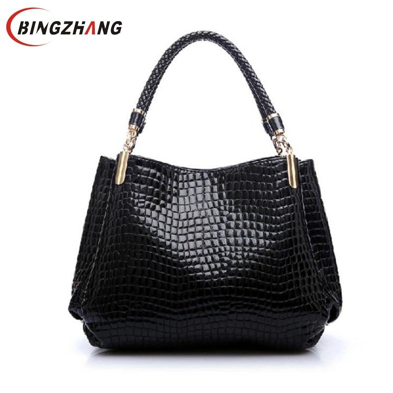 Designer Alligator Bags Women Leather Handbags Spanish Brand Luxury Ladies Hand Bags Fashion Shoulder Bag Black Bolsos Sac L8-38