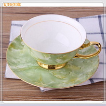 1 set European Leisure Afternoon Tea Coffee Cup Saucer Fine Bone China Classic Green Marble Stripe coffee cup 5ZDZ458