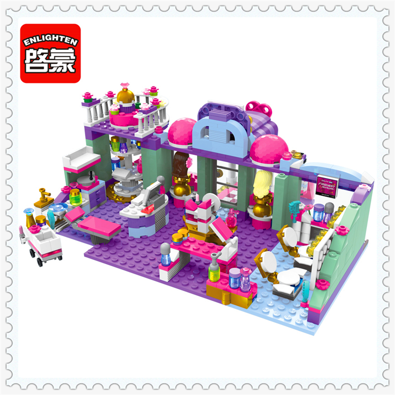 ENLIGHTEN 2006 Girls Friends Shirley's Beauty Shop Building Block Compatible Legoe 485Pcs Educational  Toys For Children sluban 0372 block compatible legoe aviation city aircraft repair shop model 596pcs educational building toys for children