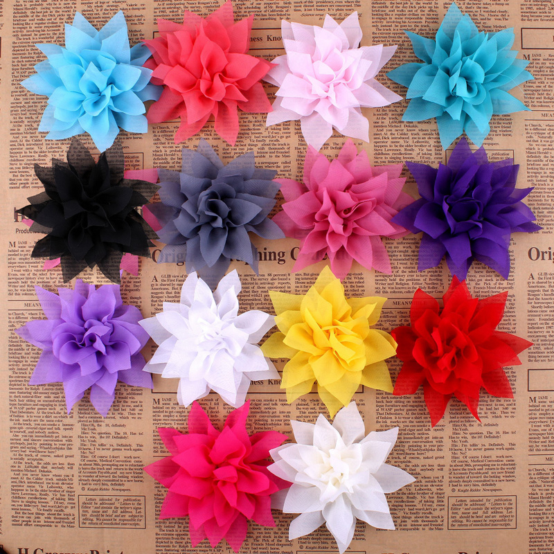 30pcs/lot 4.4 14colors Tulle Lotus Chiffon Flower For Children Hair Accessories Chic Artificial Fabric Flowers For Headbands new newborn headbands chiffon flowers hair accessories for children satin flower elastic baby girl headwears with 10 colors