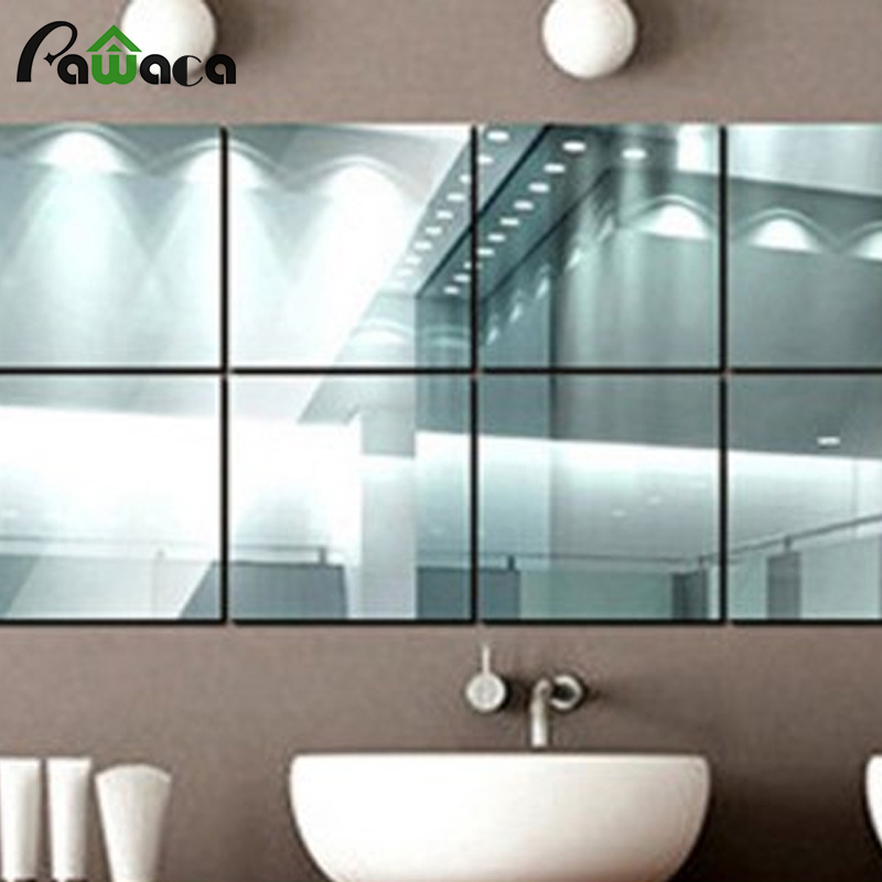 9 Pcs Lots Home Decor Squares Mirror Surface Wall Sticker