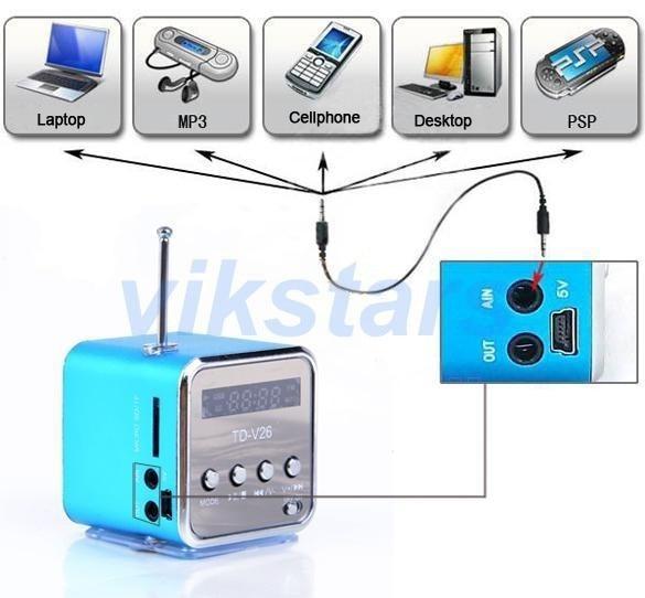 micro SD TF USB radio portátil altavoz FM radio por internet, teléfono móvil vibración PC reproductor de música, mini altavoz multifunción V26R