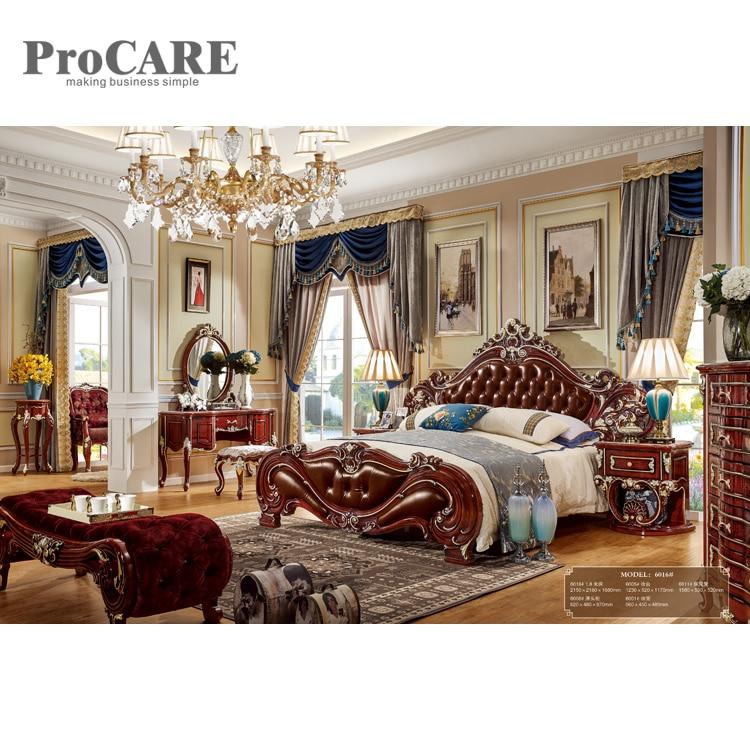 elegant solid wooden carved bed designs furniture king size wood bed design - 6016