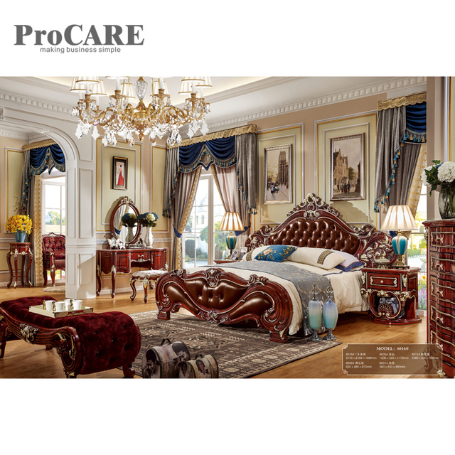 Elegant Solid Wooden Carved Bed Designs Furniture King Size Wood Bed Design    6016