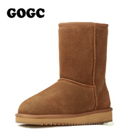 2016 GOGC Snow Boots Comfortable Winter Boots Ankle Women Boots Cow Split Casual Shoes Woman