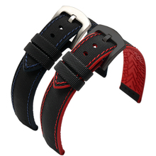 New High quality watchband Nylon+Rubber bottom strap 18mm 20mm 22mm 24mm watch General style black bracelet for men bussiness стоимость