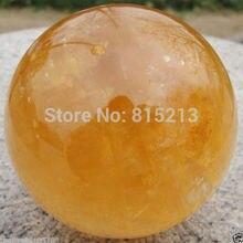 83-85 мм натуральный цитрин Кальцит Кварцевый шар для исцеления+ подставка