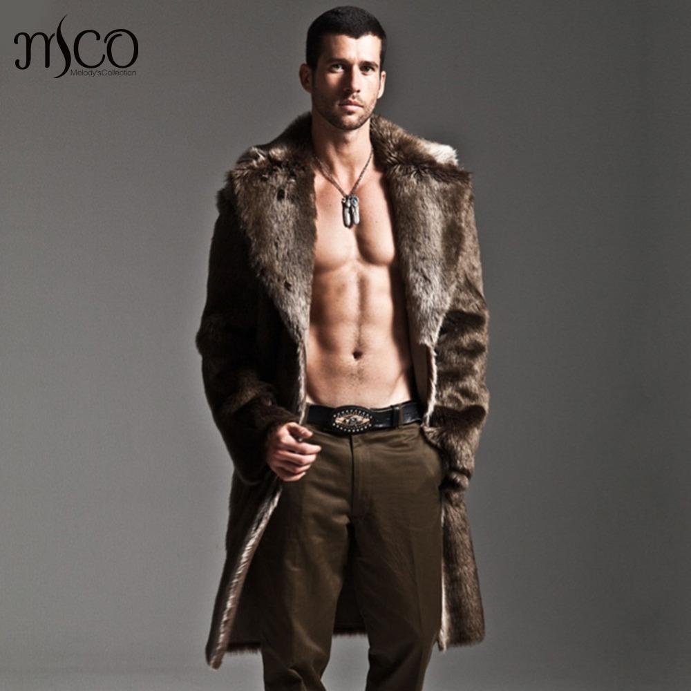 2016 Leather Jacket Men's Faux Fur Coat Long Sleeve Winter Thick Reversible Jacket Fashion Mens Overcoat Parka Plue Size 3xl