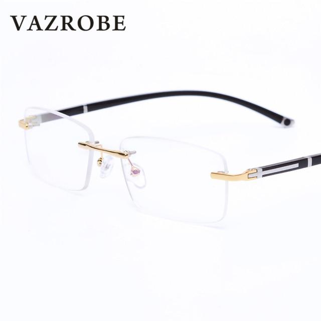 4423edd3bd Vazrobe Rimless Glasses Frame for Men Prescription Spectacles Eyeglass for Optical  lens myopia diopter fashion gold