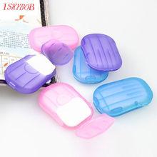 2 pudełko Portable mycie kawałek arkusze ręka kąpiel Travel pachnące pieniący papier mydło tanie tanio Akcesoria podróżne 4 5 cm 1 3 cm F5F14 7 cm Plastikowe Z ISKYBOB Stałe Pokrowce na paszport