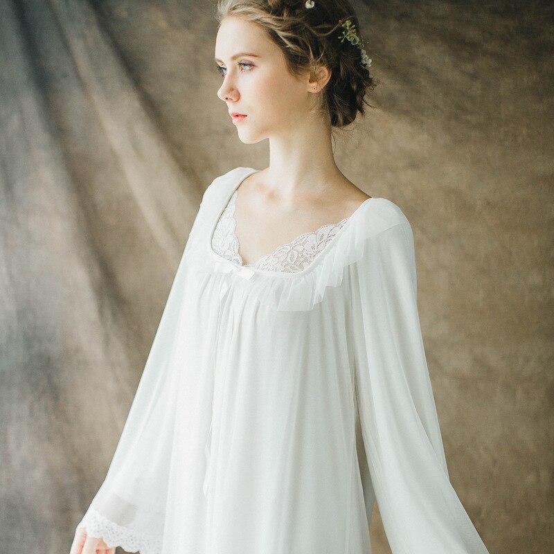 New Women Sexy Gowns Cotton Princess Nightgown Ladies Vintage Lace Sleepwear Women Nightwear European Retro Style Dress SW1712