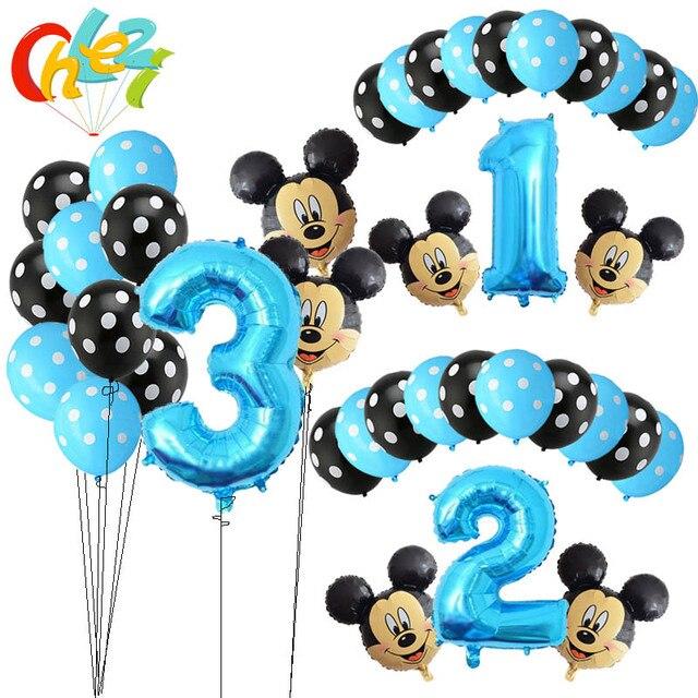 13 Piezas De Nino Azul Globos De Cumpleanos Mickey Mouse
