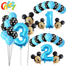 13Pcs Blue Boy Birthday Balloons Mickey Mouse party decorations Number 1 2 3 year baby shower helium Dot latex balloon Kids toy(China)