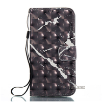 Leather Wallet Flip Marble Case For LG K10 2017 Phone Cover Accessory Black Cell Phone Coque