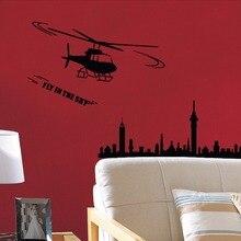 Adhesivo arte Cartel de La Pared Decoración Casera de la Pared Etiqueta de La Pared Helicóptero Militar Diseño de La Pared de Fondo Salón Mural Y-634