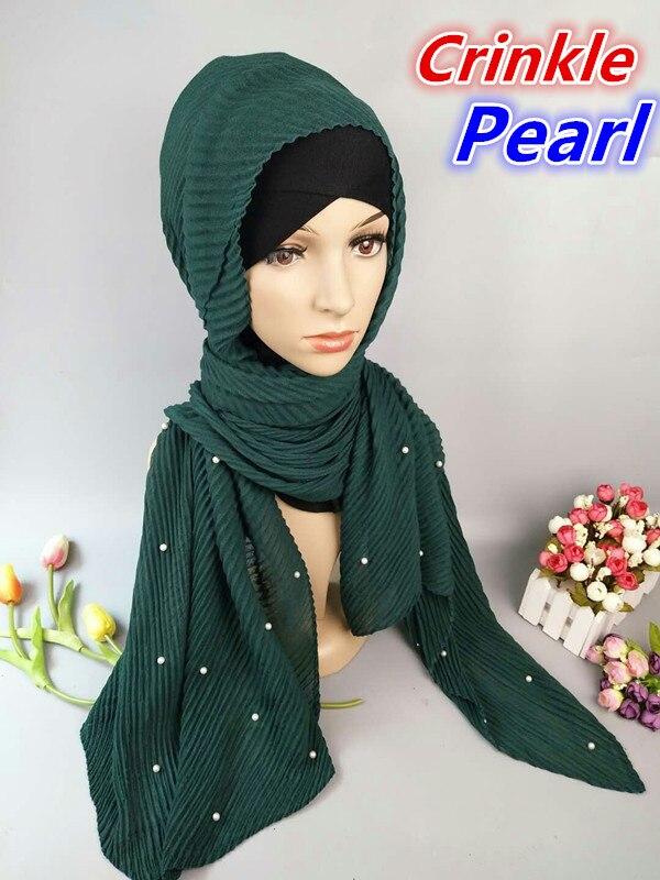 J10 New fashion crinkle crumple visocse pearl hijab wrap women scarf scarves muslim shawl can choose colors