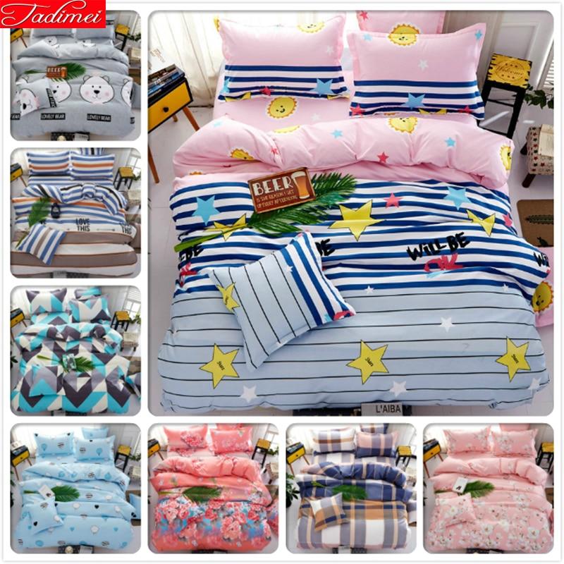 Power Source Winter Warm Blue Pink Ab Side Duvet Cover 4pcs Bedding Set Kids Bed Linen Suit King Queen Size 1.5m 1.8m 2.0m Bedsheet Bedlinens