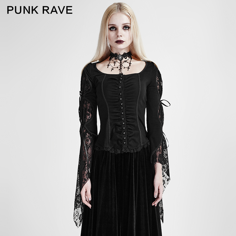 2018 Good Quality Punk rave Fashion Gothic Sexy Lace Floral Novelty Top Women Blouse Top Victorian Party Shirt clothing DY683