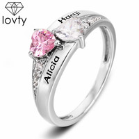 lovty Personalized Engraved Name Engagement Ring Birthstone Ring Custom Name Promise Ring Valentine's Day Gift for Women