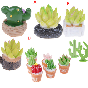 Green Mini Tree Potted For 1:12 Dollhouse Miniature Cactus Succulents Green Plant In Pot Doll House Simulation Potted Plants
