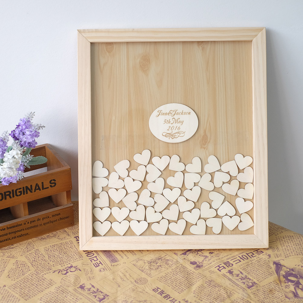 Custom Wedding Guest Book Personalized Frame Alternative Guestbook With Round Decoration In Party Diy Decorations