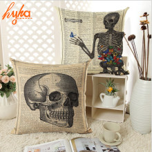 Vintage Flower Skull Cushion Cover Home Decorative Throw Pillow Cover Sofa Chair Newspaper Cotton Linen Cushion : newspaper chair - Cheerinfomania.Com