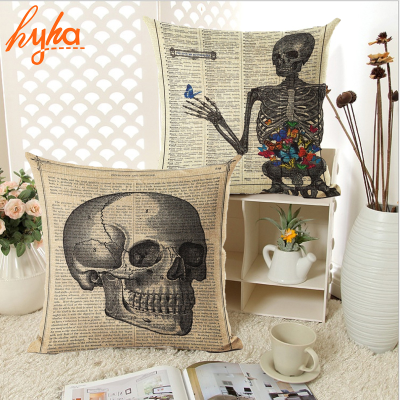 Vintage Flower Skull Cushion Cover Home Decorative Throw Pillow Cover Sofa Chair Newspaper Cotton Linen Cushion Cover