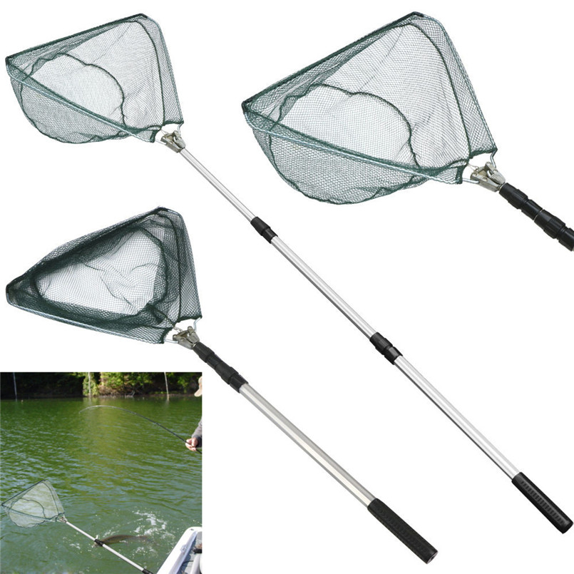 New Sales Fishing Landing Net Safe Catch and Release Fish Landing Net Telescoping Handle Foldable Hoop A3