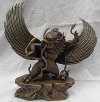 Old Craft 12 Tibet Buddhism Carved Bronze Fly Redpoll Winged Garuda Buddha Snake Statue A0314