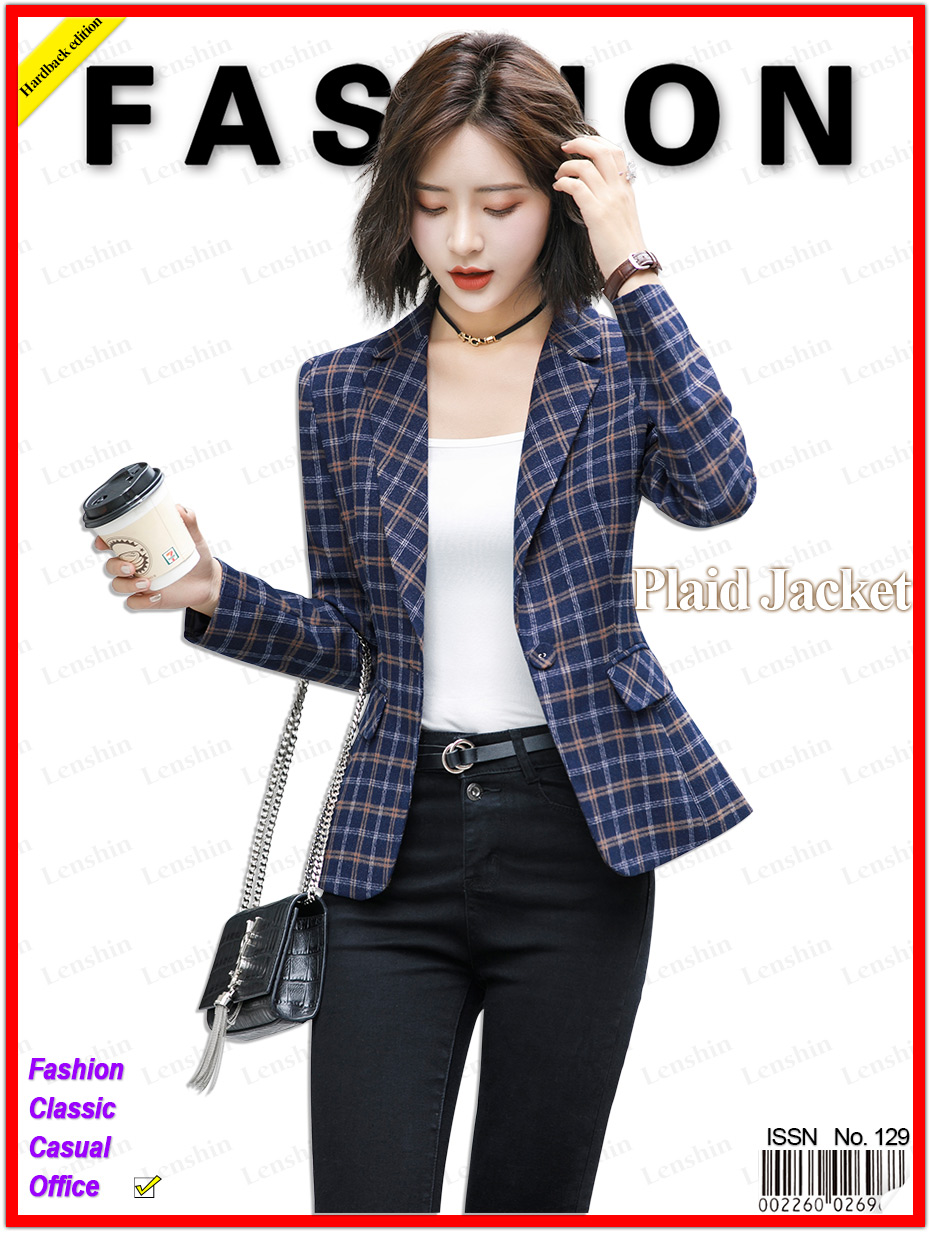 Lenshin Soft and Comfortable High-quality Plaid Jacket with Pocket Office Lady Casual Style Blazer Women Wear Single Button Coat 1