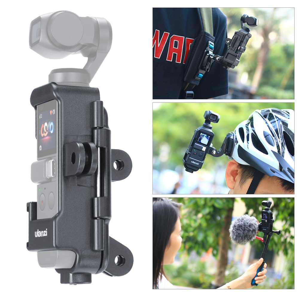 ULANZI OP-<font><b>7</b></font> Vlog Extended Housing Case for DJI Osmo Pocket Cage with Microphone Cold Shoe <font><b>3</b></font> GoPro Interface Adapter for Motovlog image