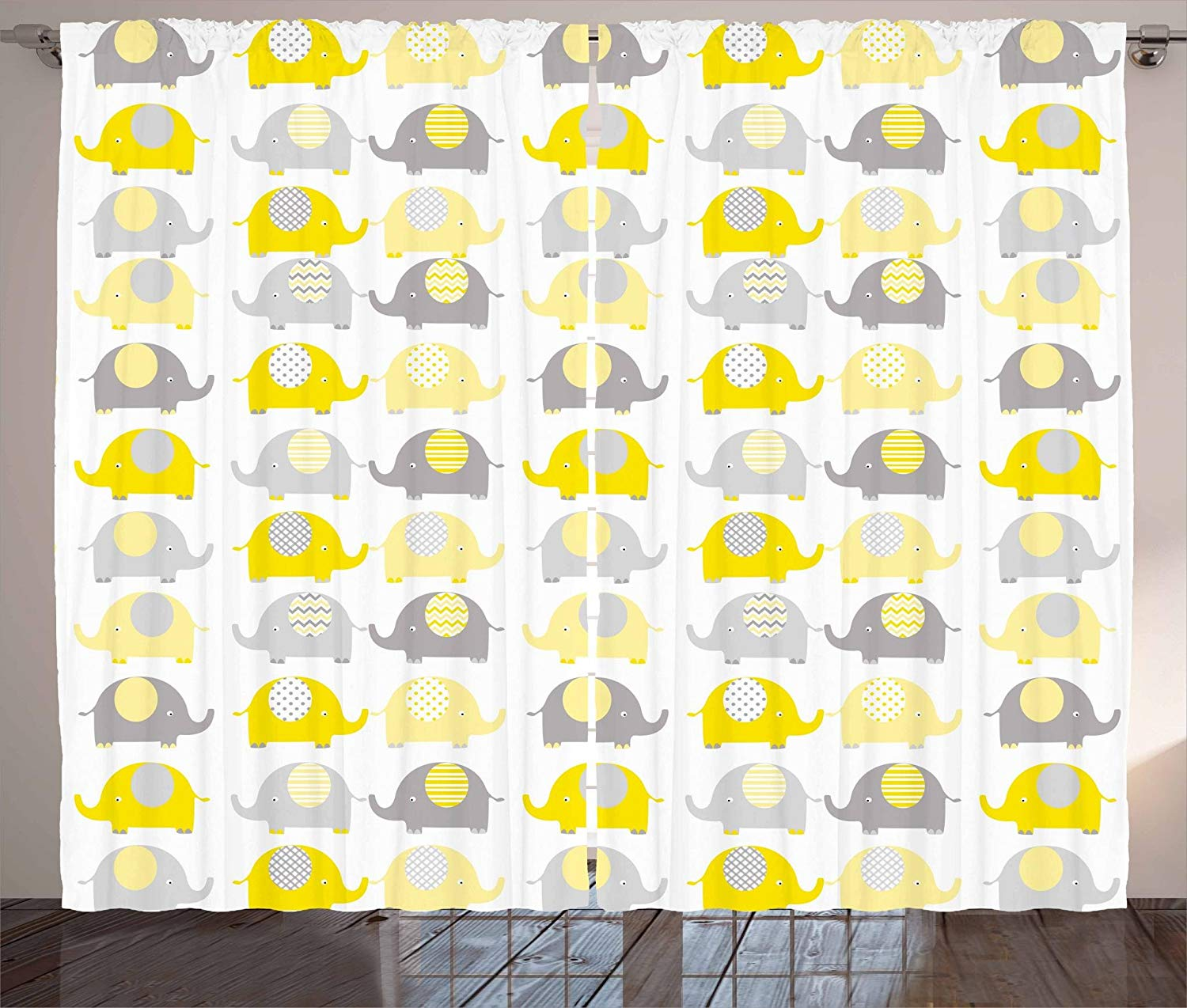 Nursery Curtains Yellow Grey Cute Elephant Cartoon Animals with Different Patterns Asia Fauna Living Room Bedroom Window Drapes