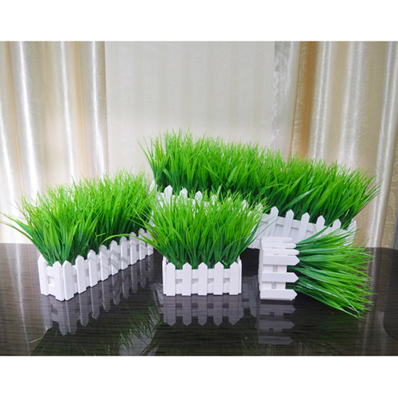 Fake Plant Pot Decoration Artificial Grass White Wooden Fence Potted Decoration  E2S
