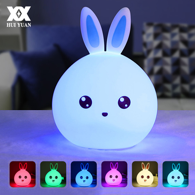 219f9f486361 Silicone Rabbit Night Lights Bedside Lamp Children Cute Color Changing Night  Lamp Rechargeable Touch Sensor Bedroom Light