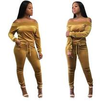 Sexy Sweat Suits Two Piece Sets Tracksuit Women Velvet Long Sleeve Autumn T-shirt Tops and Full Length Pants 2 Pcs Outfits DW569(China)