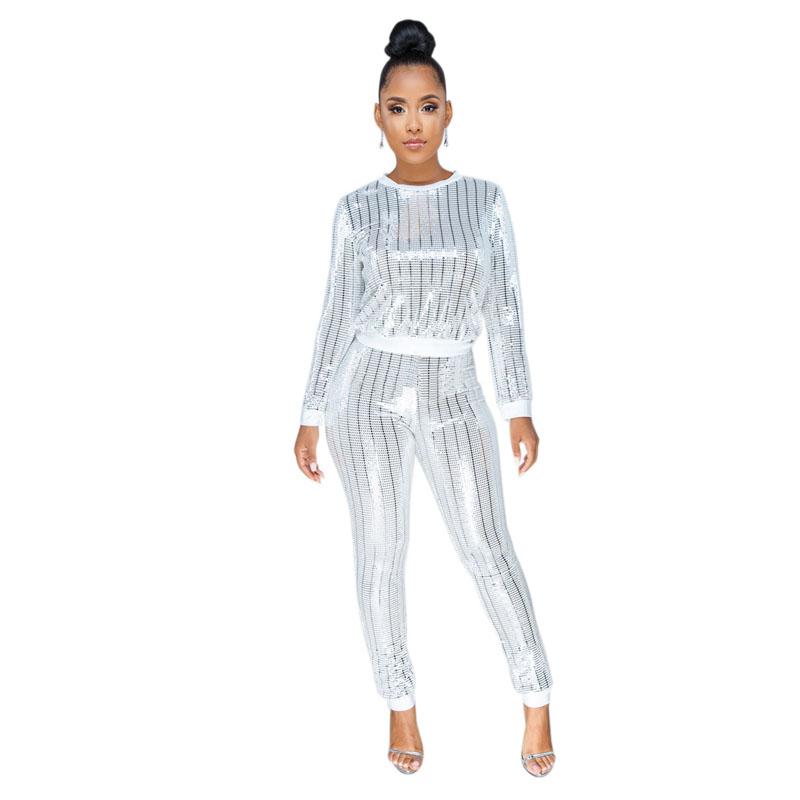 stretchy trendy party 2 piece set women casual crop top