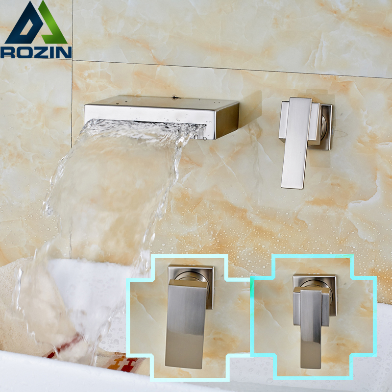 Luxury Wall Mounted Waterfall Spout Bathroom Faucet Single Lever Brushed Nickel Basin Sink Mixer Faucet Tap nickel brushed wall mounted solid brass bathroom sink tub faucet led waterfall spout mixer tap