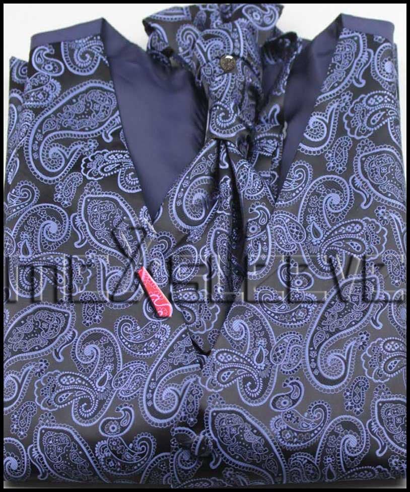 promotion New Mens Tuxedo Suit navy paisley groomsman Vest Ascot cufflink handkerchief Free shipping
