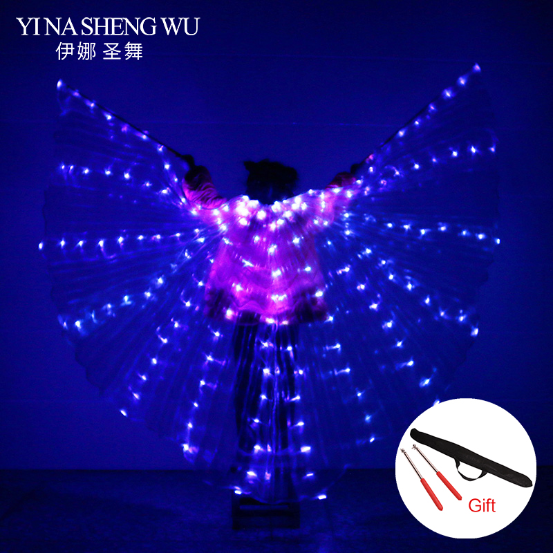 2018 Children LED Light Isis Wings Belly Dancing 360 Degree Egyptian Stage Performance New Arrival Kids DJ LED Wings With Sticks